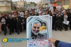 برگزاری راهپیمایی نمازگزاران مسجدسلیمانی در پی شهادت سردار سلیمانی + تصاویر